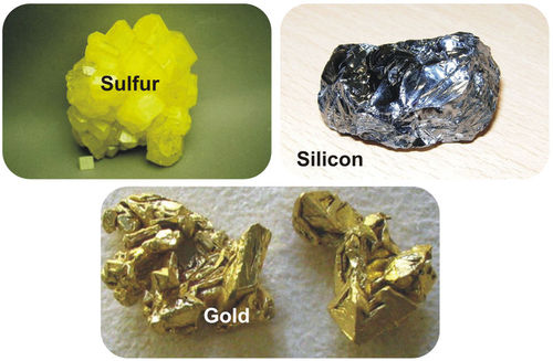 Composite of sulfur, gold, and silicon